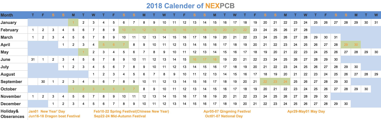 2018 Vacation Calendar
