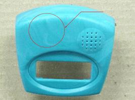 Color Streaks on blue plastic