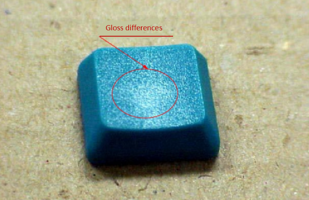 Gloss differences on blue plastic
