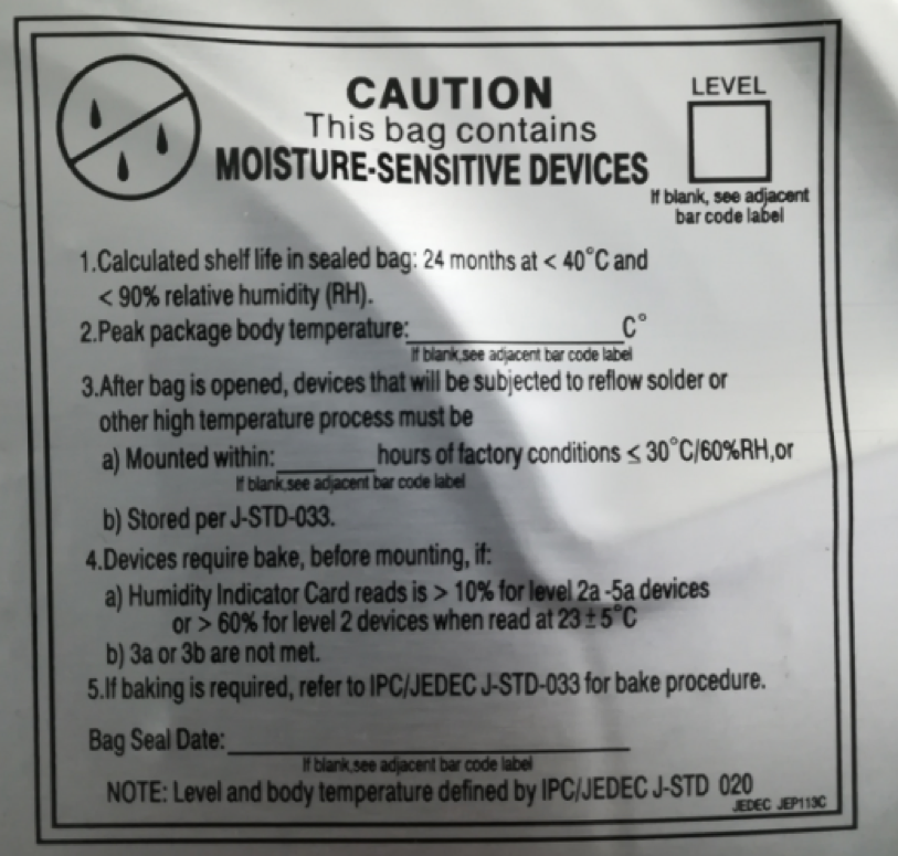 Humidity sensitive components