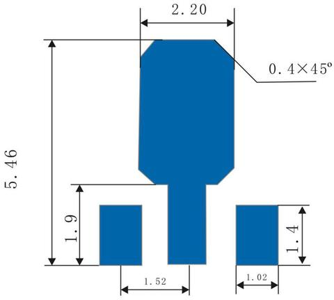 Sketch of SOT89 Bonding Pad (mm)