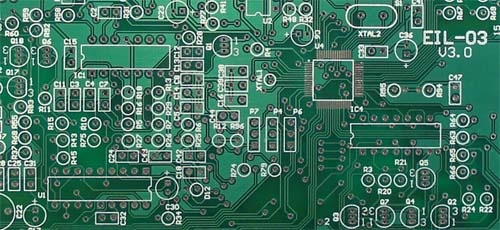 Example region of a 2 layer PCB