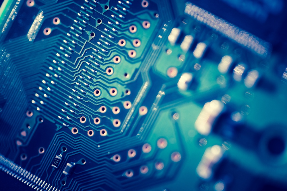 Close up of blue Printed Circuit Board-1
